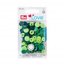 Color snap fastener, Prym Love, plastic, 12.4 mm, green