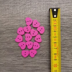 Set of wooden buttons, hearts, fuchsia