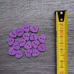 Set of wooden buttons, hearts, violet polka dot