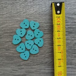 Set of wooden buttons, hearts, blue polka dot