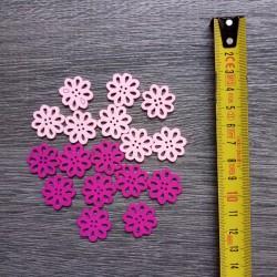 Set of wooden buttons, daisies, light pink & fuchsia