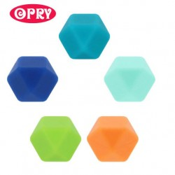 Opry Silicone beads hexagon 17mm, 5pcs, AST3