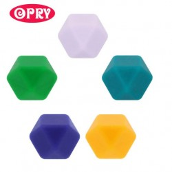 Opry Silicone beads hexagon 17mm, 5pcs, AST4