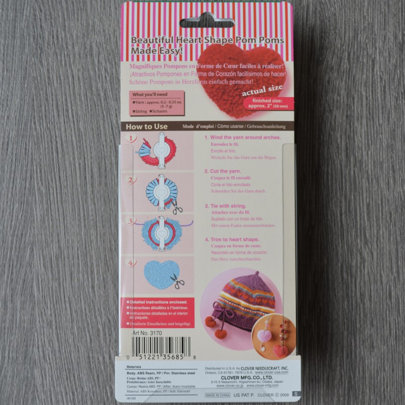 Pom Pom maker round /& heart shapes 4 size round pack or small /& large heart.