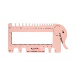 KnitPro Needle Gauge with Yarn Cutter - Blush